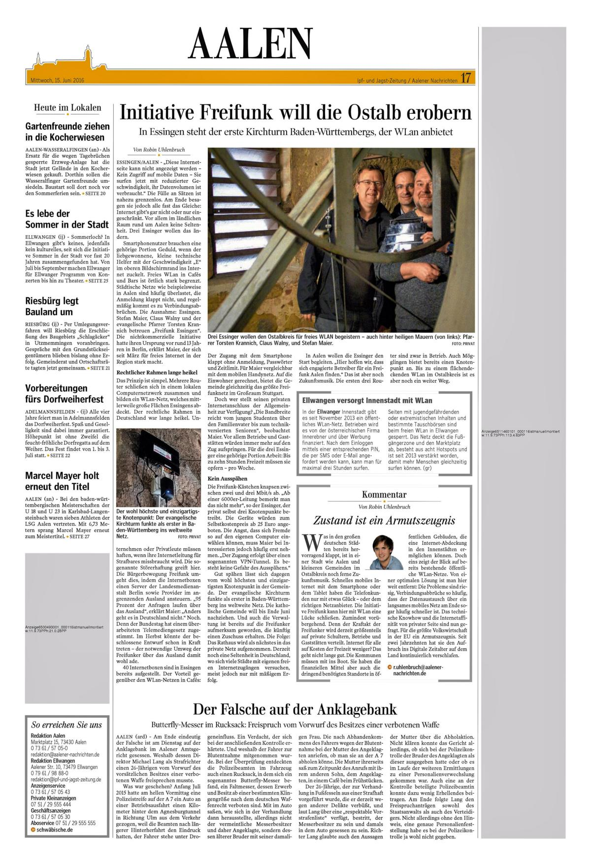 Aalener Nachrichten 15.06.2016